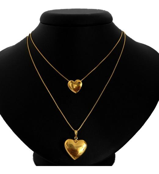 Corrente Dupla Com Dois Pingentes Coração Folheado A Ouro