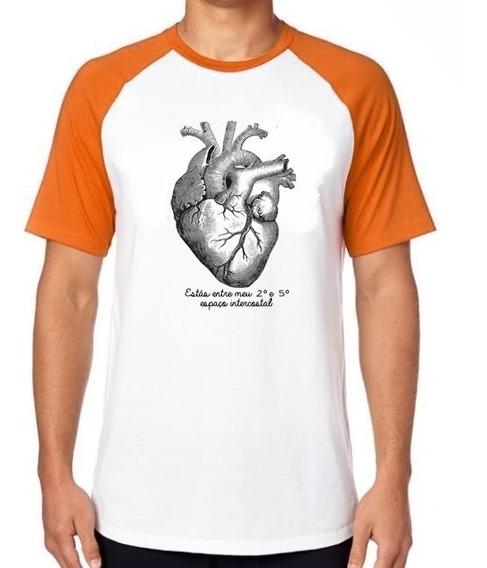 Camiseta Luxo Coração Intercostal Enfermagem Medicina Saude