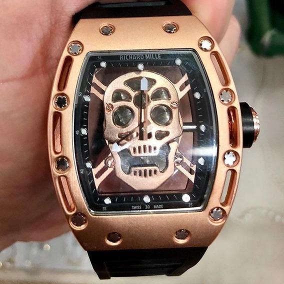 Relógio Richard Miller Skull Premium Nota Fiscal Caveira