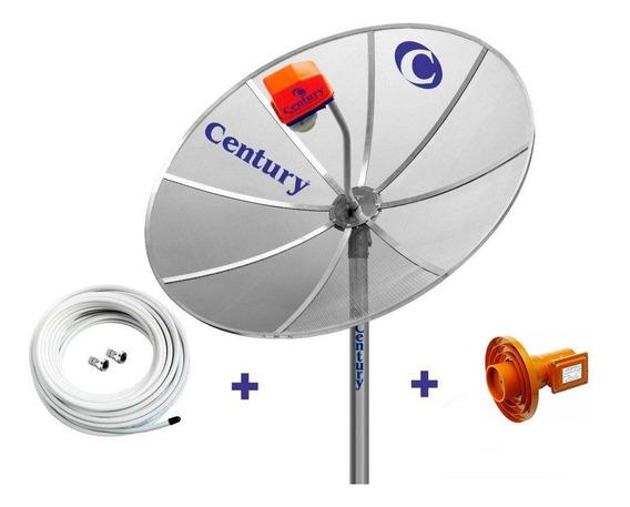 Antena Parabolica Century 1,7 Metros Diametro Com Suporte Lnbf Multiponto Superdigital 10 Metros Cabo Conectores