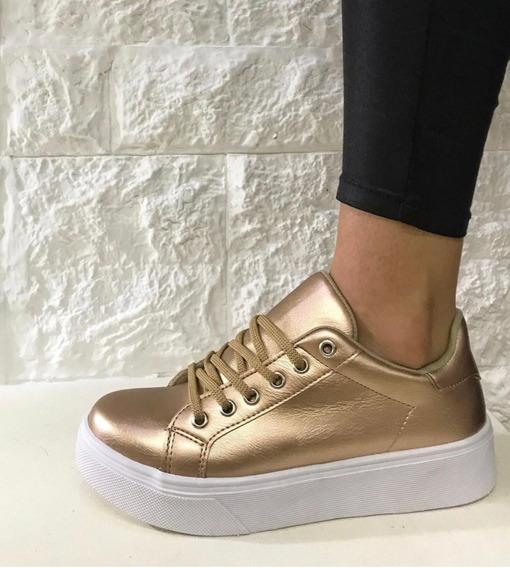 Zapato Zapatillas Mujer Urbana Plataforma Cordones 799 Popys