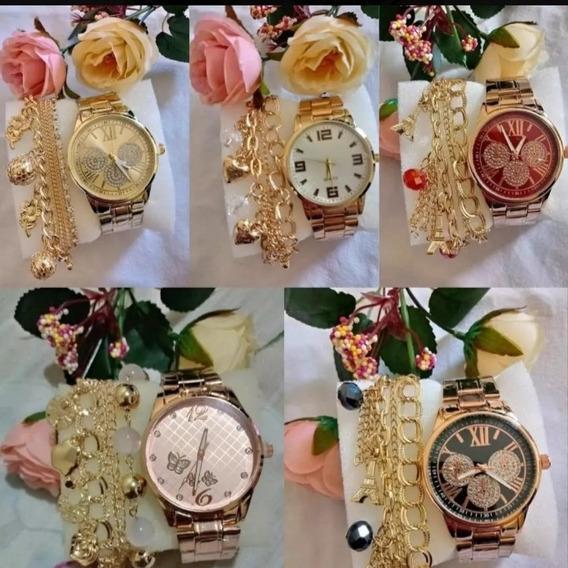 Kit 10 Relógio Feminino Dourado+pulseira Atacado+brinde Lote