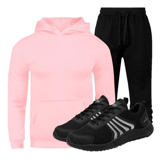 Blusa De Frio Masculina + Calça Treino + Tenis Masculino
