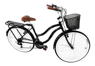 Bicicleta Aro 26 Beach Retrô 18v Com Garupa Freios De Alumín