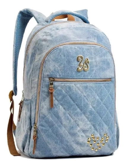 Mochila Jeans Reforçada Feminina Costas Tipo Capricho 14369