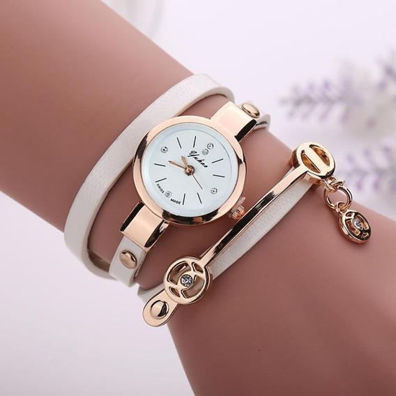 Relógio Feminino Pulseira Couro C/ Dourado Retrô Vintage