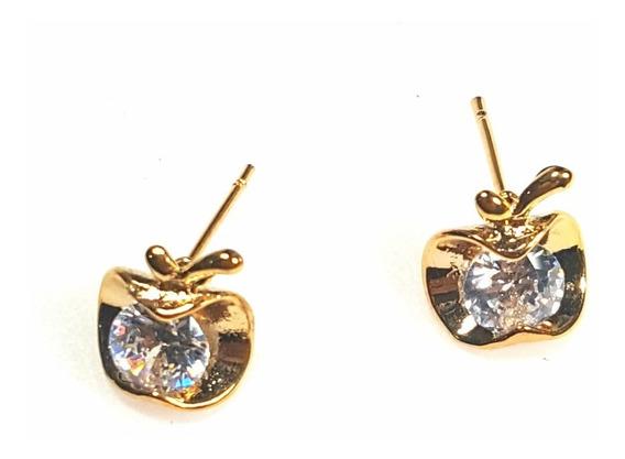 Aretes De Manzana Oro Laminado Y Zirconia Calidad Diamante.