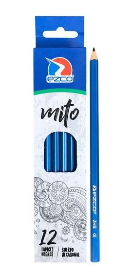 Lápiz Negro Ezco Mito Grafito Hexagonal Caja X 12