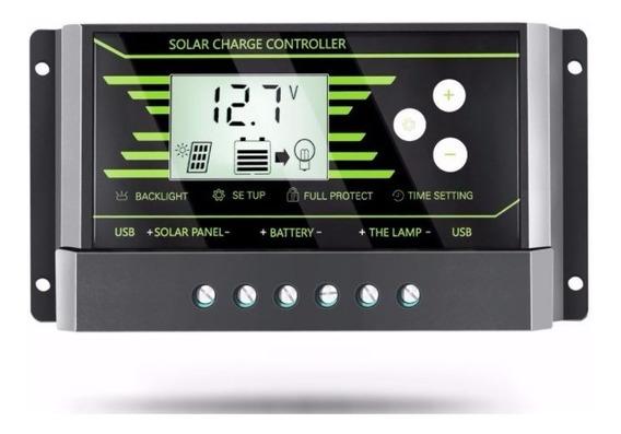 Controlador De Carga P/ Painel Placa Solar 12v/24v 30a Lcd