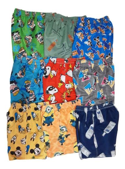 Kit 5 Shorts De Praia Desenhos Animado Estampado - Promoção