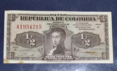 Imagen 1 de 2 de Billete Antiguo Colombiano  Medio Peso Lleritas Muy Bueno