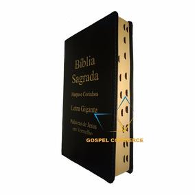 Bíblia Letra Gigante Preta Palavras Jesus Vermelho Com Harpa