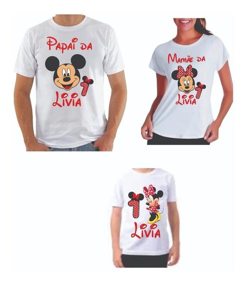 Kit Camisas Personalizada Minnie E Mickey Para Aniversario