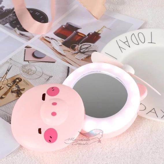 Espejo De Maquillaje Luz Led Ventilador Recargable Portátil