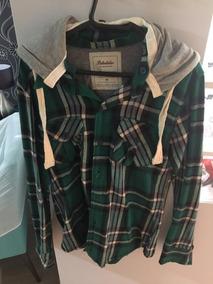 Blusa Xadrez Algodão Com Gorro Verde E Cinza