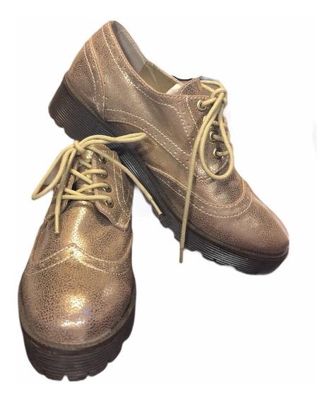 Zapatos Plataforma Brillantes Eco Cuero Talle 37 1/2