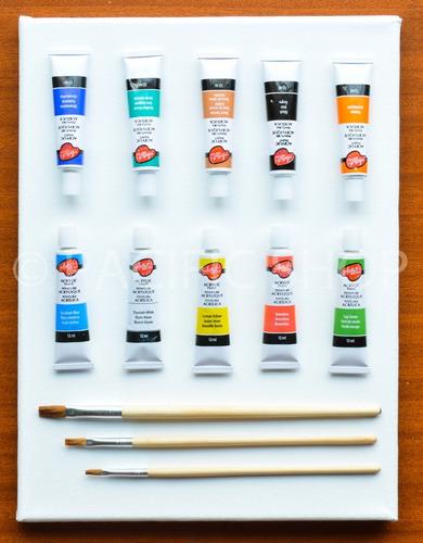 Lienzo + Acrilicos 10 Und + Pinceles Kit De Pintura !!!!!!