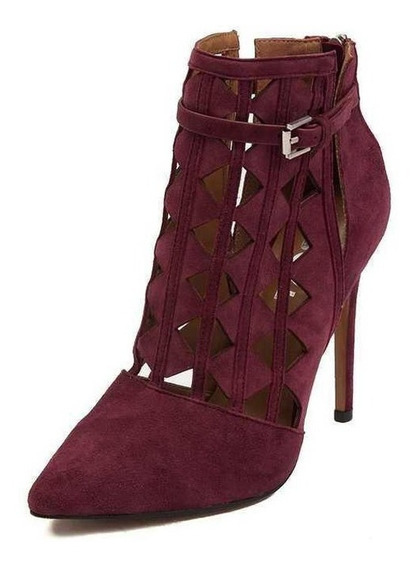 Zapatos Tacon Aguja Report Fluere Vino Borgoña Moda Dama