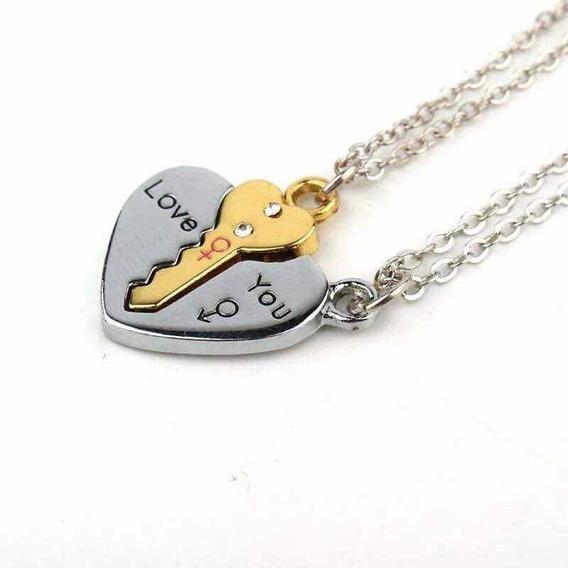 Set De Collar Pareja Llave Corazón Enamorados