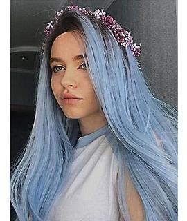 Peluca Natural Cabello Pelo Largo Liso De Moda Azul