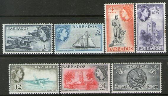 Barbados 7 Sellos Nuevos Velero, Catedral, Cañones Año 1964+