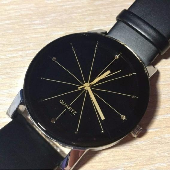 Relógio Quartz Pulseira De Couro Preto