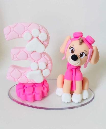 Imagem 1 de 1 de Topo De Bolo Skye Patrulha Canina Vela Biscuit