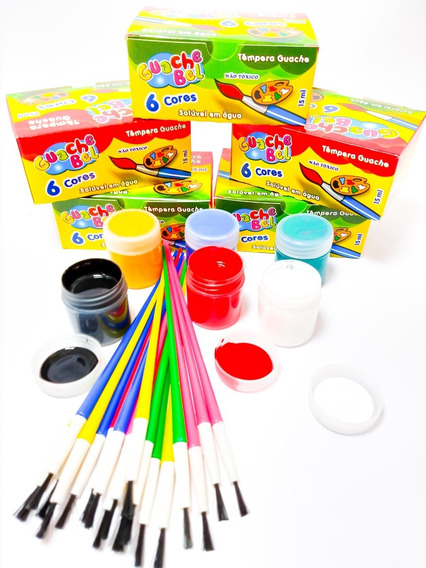 20 Cx Tinta Guache + 15 Pincel Artístico P/ Crianças