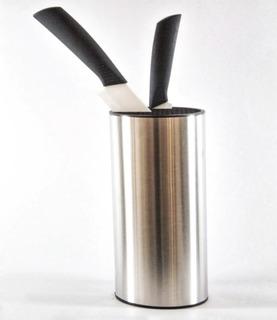 Porta Cuchillos Plateado Metal Plastico Cilindrico