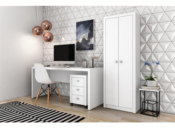 Conjunto Home Office Cb06 Com Escrivaninha Armário Alto E Ga