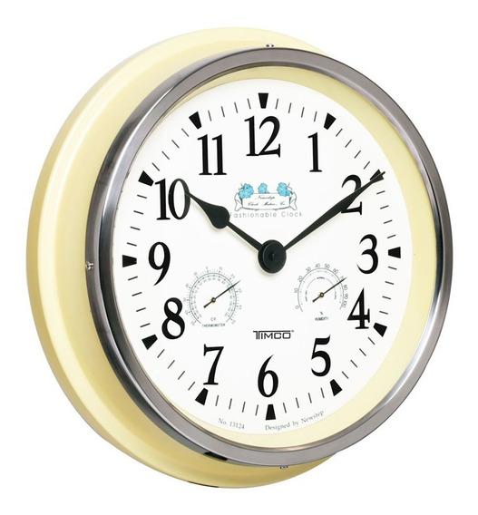 Reloj De Pared Medidor Temperatura Y Humedad 35.5 Cm Hyw124a