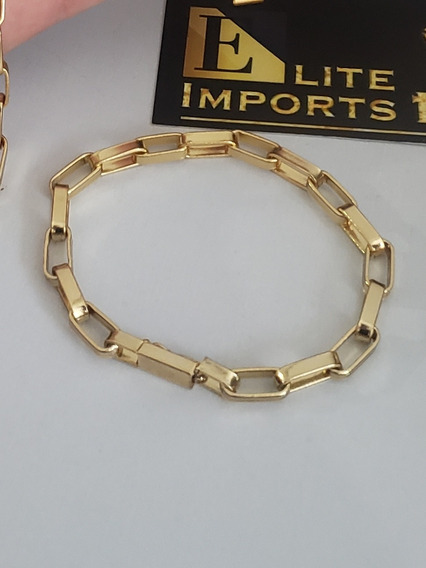 Pulseira 8mm Tijolinho Banhado A Ouro 18k Masculina Luxo