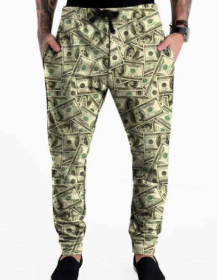 Calça Moletom Masculina Tumblr Dollar Money Cash Swag Green