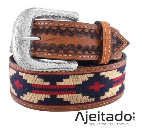 Cinto Country Couro Estampa Indígena Caramelo Ct0130
