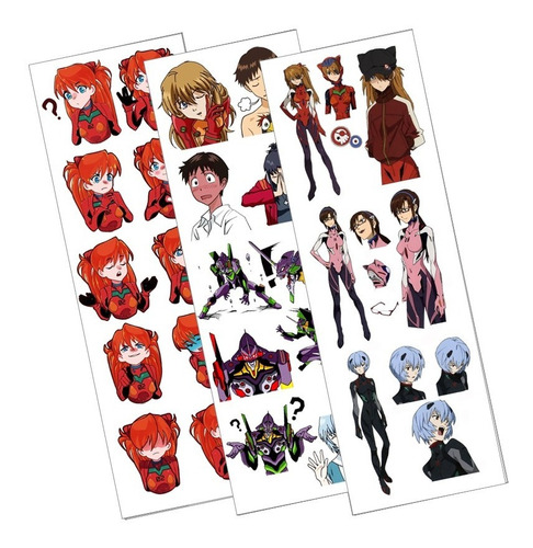 Plancha De Stickers De Anime De Evangelion 3.0 Asuka Rei Mar