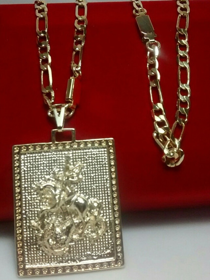 Cordão Groumet Folheado A Ouro São Jorge + Pulseira + Brind