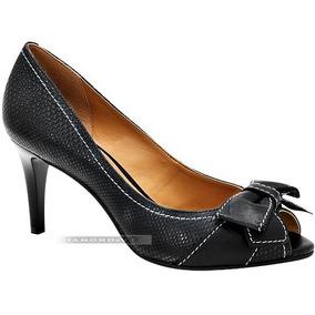 Sapato Peep Toe Feminino Via Uno Salto Médio Preto Cobra