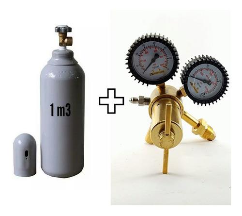 Imagem 1 de 5 de Cilindro(novo) Nitrogênio1,0m3 +regulador Alta Vazao