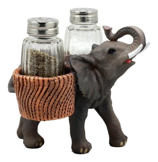 Ebros Sabana Llamadas Trumpeting Elefante Vidrio Sal Y Pimie