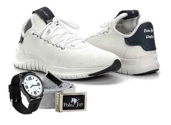 Kit Tênis Pj Esportivo Masculino Moderno + Cinto + Relógio