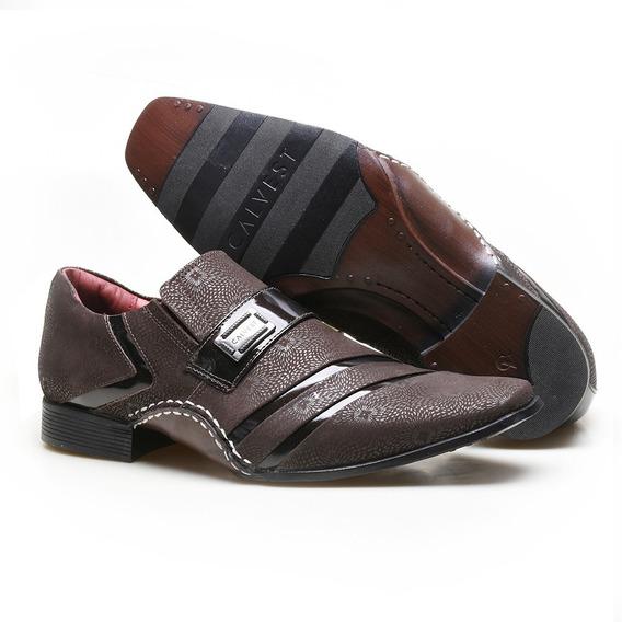 Sapato Social Em Couro Com Textura Vigo E Metal Calvest