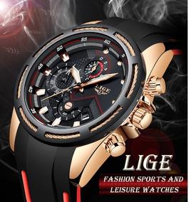 Relógio Masculino Lige 9957 Luxo Casual Esportivo Silicone