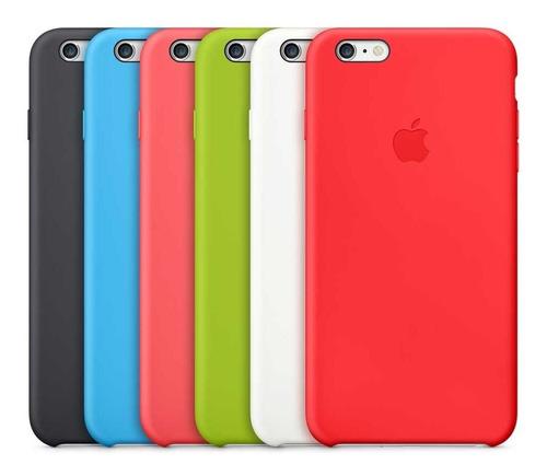 Carcasa Forro Silicone Case iPhone 6/6s Plus+vidrio Completo
