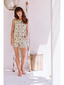 3589 Pijama Con Aletilla Y Encaje Marca Ilusion Original