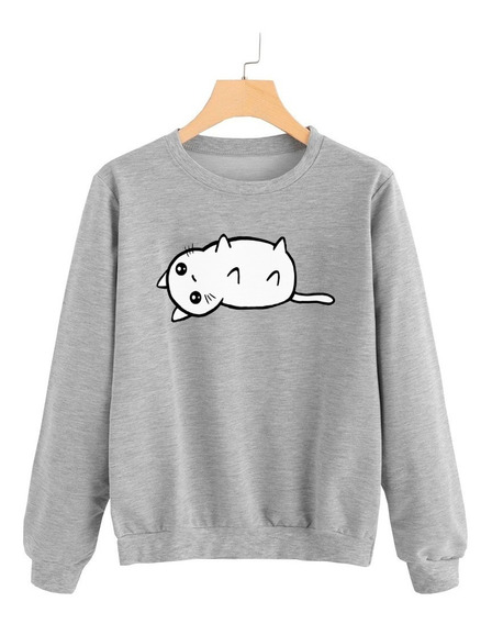 Buzo Buso Sweater Saco Mujer Gato Gatito Acostado