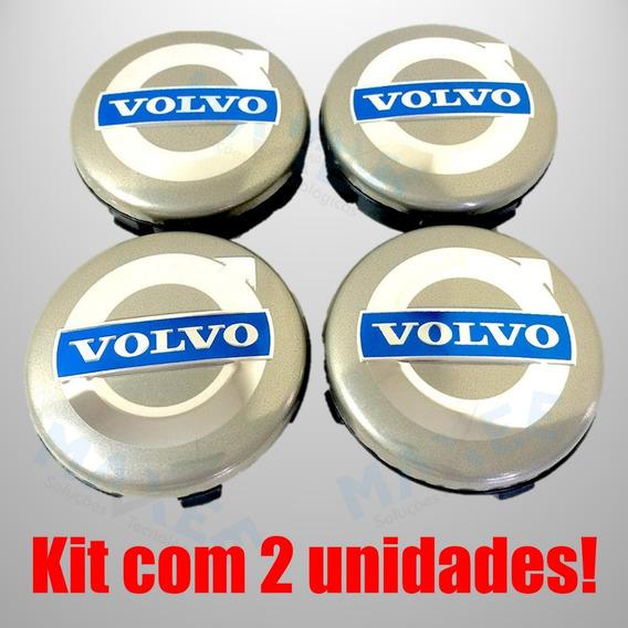 2 Un Calotas Volvo 64 Mm C30 Xc90 S80 S60 S40 V70 Xc60 Prata
