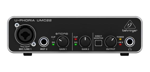 Behringer Interface Para Gravação De Áudio U-phoria Umc22