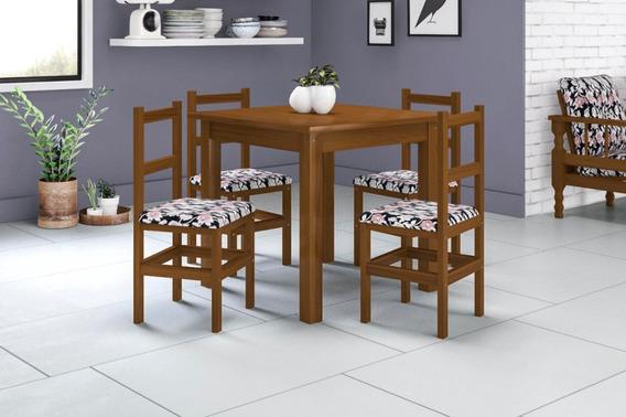 Conjunto De Mesa (90 X 90 Cm) E 4 Cadeiras Belini
