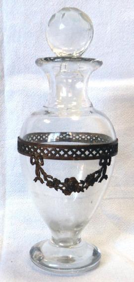 Antiguo Y Lindisimo Perfumero Cristal Bronce Estilo Frances
