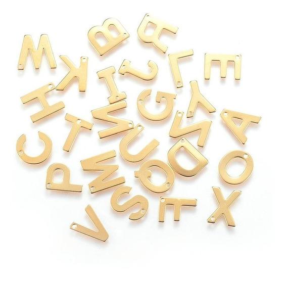Collar Acero Inoxidable Dije De Letras 15mm, Dije Y Cadena